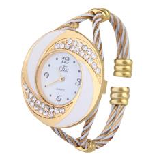 Vogue Women Personalized Rhinestone Analog Quartz Wrist Watch Bracelet (White) (Intl)