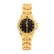 voovrof Lady inlaid diamond stainless steel watch (GoldBlack)
