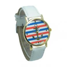 Watch Multicolor Stripes Anchor The New Quartz Leather (White) - Intl