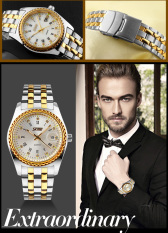 Watches Men Skmei Luxury Brand Quartz Wristwatch Casual Business Reloj Hombre Dive 30M Sport Gold Clock Relogio Masculino 9098 (White) (Intl)