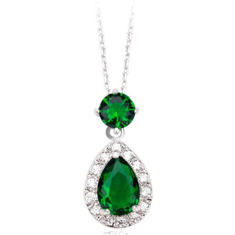 Water Drop Cubiz Zirconia Pendant Necklace - Emerald Green