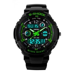 Waterproof Plastic Digital Watch Men Sports Electronic Watches 2015 Shockproof Rappel Electronic Multi-Functional Men'S Sports Watches Green (Intl)