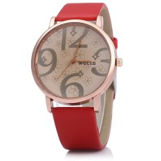 Wecin Men Women Quartz Watch Big Number Scales Leather Band (Red)