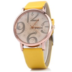Wecin Men Women Quartz Watch Big Number Scales Leather Band (Yellow)