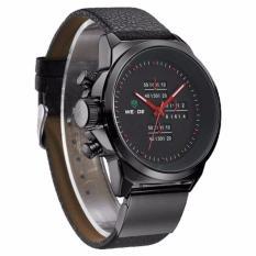 WEIDE 3305 Black PU Leather Round Sport Military Men Wrist Watch