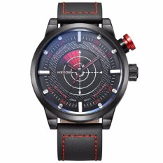 Weide Japan Quartz Miyota Men Leather Sports Watch 30M Water Resistance - WH5201 - Black Red