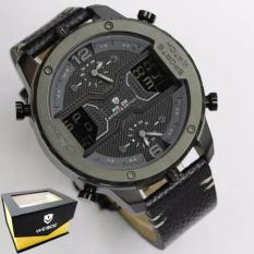 Weide Japan Quartz Miyota Men Leather Sports Watch 30M Water Resistance - WH6401B - Black