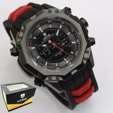 Weide Japan Quartz Miyota Men Leather Sports Watch 30M Water Resistance - WH6406 - Black Red