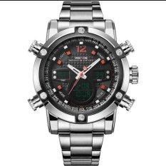 WEIDE Men's Double Time LCD Digital Analog Waterproof Silver Stainless Steel Sports Watch - Intl