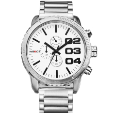 WEIDE WH-3310 Men's Fashion Stainless Steel Band 3ATM Waterproof Quartz Watch - White (Intl)