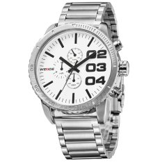 WEIDE WH-3310 Men's Fashion Stainless Steel Band 3ATM Waterproof Quartz Watch - White