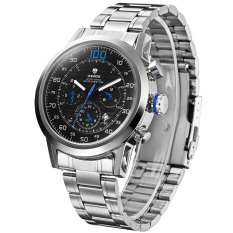 WEIDE WH-3311 Men's Fashion Stainless Steel Band 3ATM Waterproof Quartz Watch with Calendar - Black + Blue + Silver