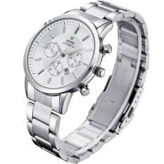 WEIDE WH-3312 Men's Fashion Stainless Steel Band Waterproof Analog Quartz Watch with Calendar - White (Intl)