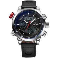WEIDE WH-3401 Men' Luxury Genuine Leather Strap Quartz Digital LCD Back Light Military Sport Wristwatch - Black + Silver (Intl)