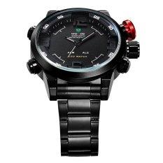 Weide WH2309 Pria Olahraga Militer Analog Kuarsa Digital LED Ganda Tampilan Waktu Alarm Jam Tangan Hitam