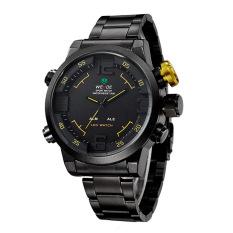 WEIDE WH2309B olahraga militer kuarsa perhiasan Double Movts sejalan waktu alarm tampilan digital ganda memimpin jam tangan untuk pria (Kuning)