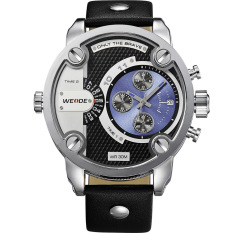 WEIDE WH3301 olahraga pria asli Kulit Strap jam tangan tahan air terlalu besar kuarsa - Hitam + Biru (International)