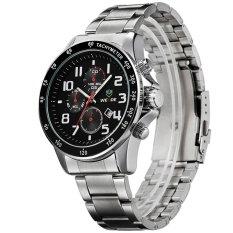 WEIDE WH3308 Men's Sports Waterproof Stainless Steel Strap Quartz Watch - Silver + Black