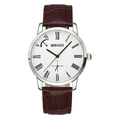 WEIQIN Brand Of High-grade Leather Men's Leisure Mens Watch 5ATM Waterproof Watch-Coffee White (Intl)