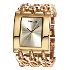 WEIQIN Square Dial Crystal Bracelet Ladies Fashion Bangle Dress Women Quartz Watch Rose Gold (Intl)
