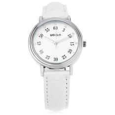 WeiQin W40003L Female Quartz Watch Floral Pattern Artificial Diamond Dial Water Resistance Wristwatch (White)