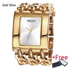 WEIQIN Women Gold Silver Square Dial Bangle Watch Jam Tangan Quartz Ladies Chain Bracelet Watch Jam