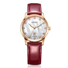 Weishi Bontek Electronic CITOLE Ladies Watch Leather Diamond Authentic Korean Simple Calendar Temperament Leather Waterproof Quartz Table Fashion Brand Table 5151 Red (Red)