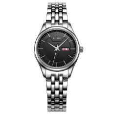 Weishi BUREI Auto Date Women Watch Genuine Leather Strap Quartz Casual Wristwatch 30M Waterproof Fashion Lady Dress Watches Reloj Mujer (Silver Black Steel)