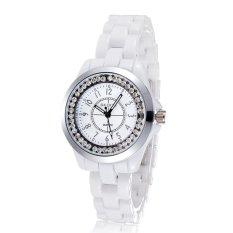 weisizhong Brand Skone white Imitation ceramic women watches luminous rhinestones quartz mesh watches (White)