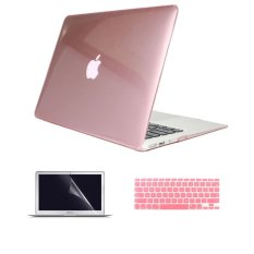 Welink 3-in-1 Apple MacBook Air 11 inci kasus/Case jernih + penutup Keyboard + pelindung layar untuk MacBook Air 11 inci (jelas berwarna merah muda)