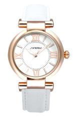White Classic Women's Luxury Wrist Watch Faux Leather Quartz Lady Fashion Watch (Intl)