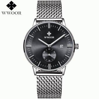Wholesale WWOOR Date Clock Male Waterproof Quartz Watch Men Silver Steel Mesh Strap Luxury Casual Sports Wrist Watch 8808 - intl
