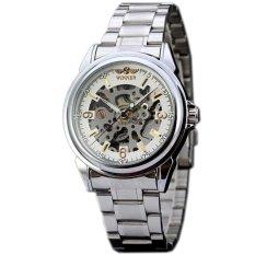 WINNER Classic Silver Steel Automatic Mechanical Skeleton Mens Wrist Watch WW312