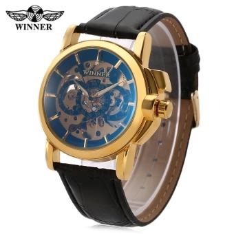Winner F120599 Men Auto Mechanical Watch Luminous Pointer Hollow Back Decorative Sub-dial Wristwatch (Gold)