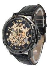 Winner Hand-Wind Mechanical Dial Black Leather Strap Wrist Watch WINK0022 Black