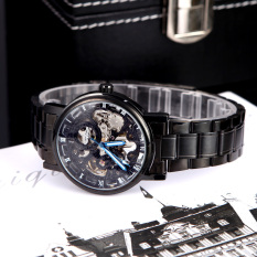 Winner Hour Minute Analog Roman Skeleton Transparent Fashion Men's Auto Mechanical Watch With Stainless Band