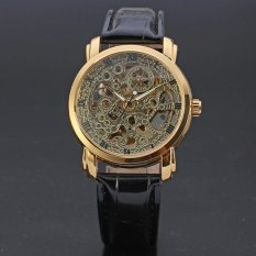 WINNER Leather Strap Mens Skeleton Mechanical Vintage Automatic Watch Gold WW113