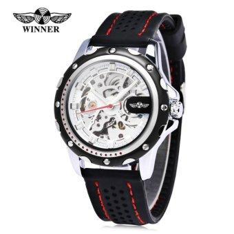 Winner Male Auto Mechanical Watch Luminous Silicone Band Wristwatch for Men - intl