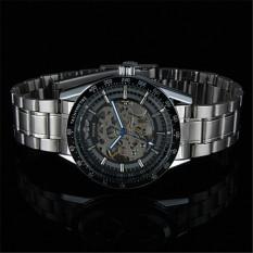 Yika WINNER Men Black Skeleton Dial Automatic Mechanical Stainless Steel Watch (White) (Intl)