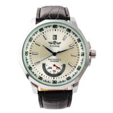 WINNER Men's Leather Strap Auto Mechanical Calendar Wrist Watch (Black) (Intl)