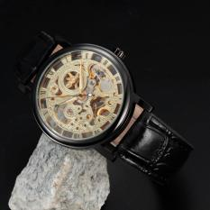 WINNER Stainless Steel Case Leather Strap Men Male Fashion Business Sport Casual Army Military Skeleton Hand Wind Mechanical Wrist Watch Gift Wristwatches - Intl