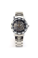 WINNER W001 Men's Boys Hollow-out Skeleton Round Dial Stainless Steel Automatic Mechanical Wrist Watch Black + Silver
