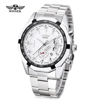 WINNER W050 Male Auto Mechanical Watch Chronograph Date Display Working Sub-dial Wristwatch (White) - intl