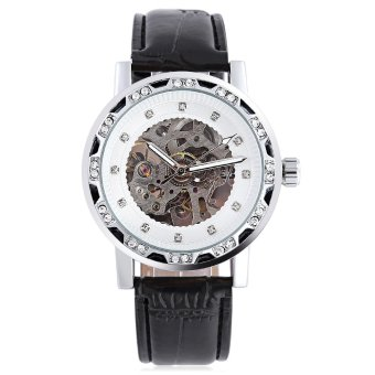 WINNER W138 Male Auto Mechanical Watch Luminous Leather Strap Artificial Diamond Dial Wristwatch (White) - intl