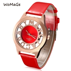 WOMAGE 1039 Female Quartz Watch Letter Pattern Transparent Dial Back Cover Leather Band Wristwatch (RED)