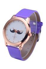 WoMaGe 380-1 Unisex Leather Watch Beard Mustache Novelty Gentleman Quartz Wrist Watch Royal Blue (Intl)