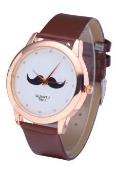 WoMaGe 380-1 Unisex Leather Watch Beard Mustache Novelty Gentleman Quartz Wristwatch