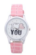 WOMAGE 9363 Casual PU Strap Dress Crystal Hour Analog Silver Dial I Love U Ladies Quartz Watches (Light Blue) (Intl)