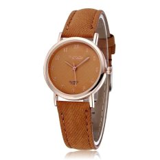 WOMAGE Blue Jeans Style Straps Women's Wrist Watch Alloy Case Analog Quartz Watches Coffee - Intl