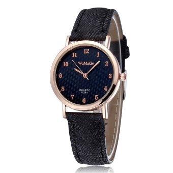 WOMAGE Blue Jeans Style Straps Women's Wrist Watch Alloy Case Analog Quartz Watches black